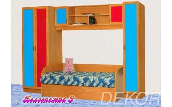 """Набор мебели для детской  с платяным шкафом и кроватью """"Белоснежка-3"""""""
