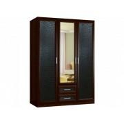 """Трехстворчатый шкаф с распашными дверками и зеркалом """"Кожа блеск 3.2"""""""