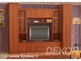 """Мебель для гостиной комнаты со шкафами и секцией под тв в классическом стиле """"Бравия-6"""""""