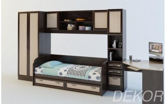 """Детская стенка со спальным местом, шкафом, угловым столом и стенкой с полками  """"Белоснежка-6 ВМ"""""""