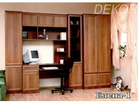 """Детская стенка с платяным шкафом, столом с антресолью и шкафом для книг """"Елена-1"""""""