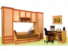 """Детская стенка с 2 шкафами, спальным местом с 2 выкатными ящиками, антресолью и компьютерным столом """"Лилия"""""""