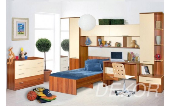 """Детская стенка  со спальным местом, тумбой, комодом, шкафом и столом с антресолью """"Ральф-3"""""""