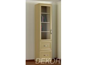 Книжный шкаф КН-1 №4 со стеклянной дверкой и выдвижными ящиками