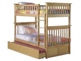 """Кровать детская  2-х ярусная  из натурального дерева """"Бастион-3"""" с выкатным спальным  местом (в)"""