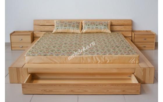 """Кровать в японском стиле """"Джанко"""" из натурального дерева"""