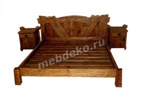 """Искусственно состаренная кровать из массива дерева ручной работы """"Медведь"""""""