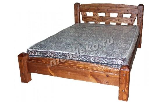 """Кровать ручной работы из массива натурального дерева с элементами старения  """"Добрыня"""""""