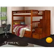 """Детская 2-х ярусная кровать с лестницей со встроенными выдвижными ящиками  из  массива дерева """"Артек"""""""