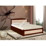 """Кровать из натурального дерева """"Березка-1"""" с отделкой из кожи"""