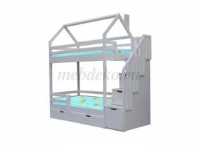"""2-х ярусная детская кроватка """"Домик с лестницей"""""""