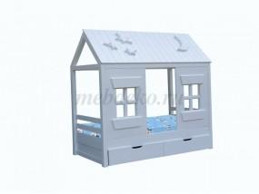 """Детская кроватка """"Домик с крышей и окнами"""""""