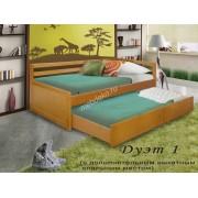 """Кровать из натурального дерева с дополнительным выкатным спальным местом """"Дуэт-1"""""""