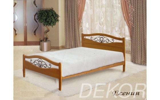 """Кровать из  дерева с двумя спинками и ковкой """"Есения"""""""
