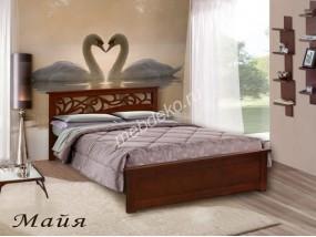 """Кровать из массива дерева  с резной спинкой """"Майя"""""""