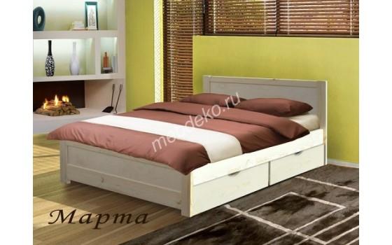 """Кровать из массива натурального дерева с двумя выдвижными ящиками  """"Марта с ящиками"""""""