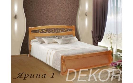 """Кровать из натурального дерева с 1 спинкой с кованой вставкой """"Ярина-1"""""""