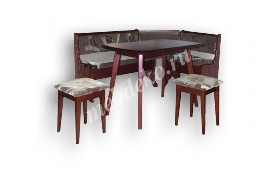 """Кухонный уголок из массива дерева с 2 табуретами и столом  """"Джульетта"""""""