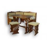 """Мягкий кухонный уголок из массива дерева с 2 табуретами и столом  """"Дубрава-5"""""""