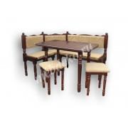 """Мягкий кухонный уголок из массива дерева с 2 табуретами и столом  """"Каскад-1"""""""