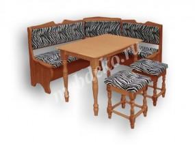 """Мягкий кухонный уголок из массива дерева с 2 табуретами и столом  """"Лира"""""""