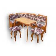 """Мягкий кухонный уголок из массива дерева с 2 табуретами и столом  """"Лира-3"""""""