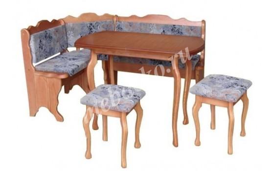 """Мягкий кухонный уголок из массива дерева с 2 табуретами и столом  """"Мария-4"""""""