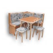 """Мягкий кухонный уголок из массива дерева с 2 табуретами и столом  """"Шарм-1"""""""