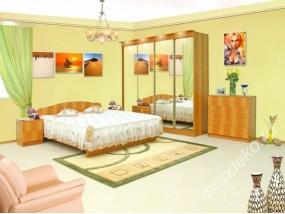 """Комплект мебели для спальной комнаты """"Светлана-11"""" с 4-х створчатым шкафом-купе с зеркалами"""