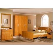 """Комплект мебели для спальной комнаты """"Валерия"""" с зеркальным панно и распашным 4-х створчатым шкафом"""