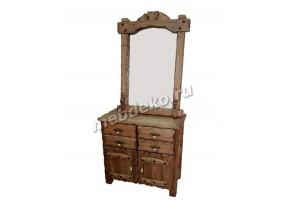 """Комод из массива дерева с элементами старения с зеркалом и выдвижными ящиками """"Добрыня 2 с зеркалом"""""""