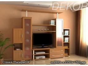 """Комплект мебели для гостиной комнаты с тумбой под телевизор и стеклянными дверками """"Палермо-4"""""""