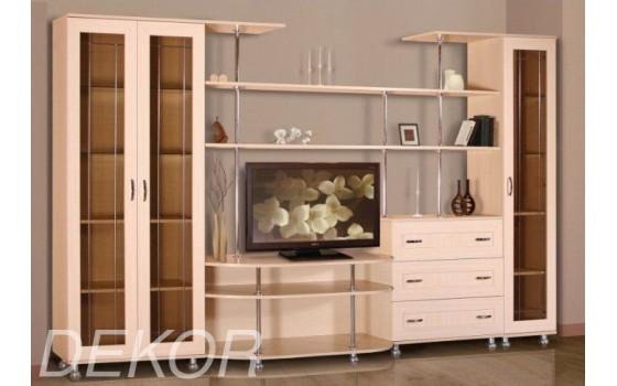"""Мебель для  гостиной комнаты с двустворчатым и одностворчатым шкафами со стеклянными дверцами """"Санремо-10"""""""