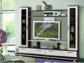 """Мебель в  гостиную с двумя стойками со стеклянными дверками и нишей для телевизора """"Софи"""""""