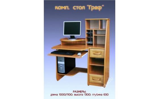 """Компьютерный стол """"Граф"""" с полками и шкафчиками"""