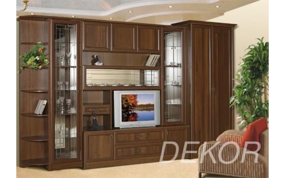 """Стенка в гостиную с платяным шкафом и стеклом """"Юникс-4"""""""